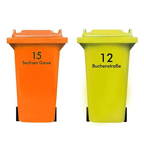 *DSD Supplies ltd. Personalisierter MÜLLTONNENAUFKLEBER mit HAUSNUMMER und STRAßENNAMEN | senden Sie Uns Ihre Vorgaben, wir fertigen Ihren individuelle Mülltonnen Sticker, wetterfest, UV-beständig*