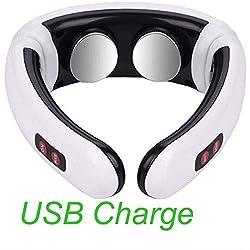 Nackenmassagegerät Elektrischer Puls Rücken Und Nacken Smart Massager Ferninfrarot Heizung Schmerzlinderung Werkzeug Gesundheitswesen Entspannungsgerät UK USB-Ladung