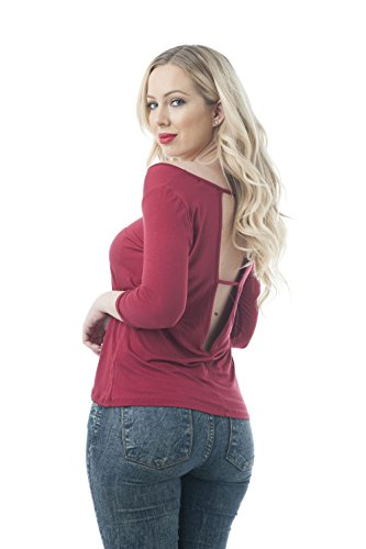 Khanomak Damen Bluse burgunderfarben