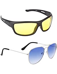 ELLIGATOR Anti Glare Unisex Sunglasses for Driving at Day and Night (Yellow-Blue-c, 3)