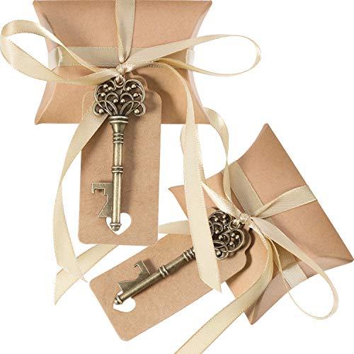 Jovitec 100 Set Apribottiglie Chiave Vintage Matrimonio Favorire Il Veleno del Ricordo Set Contenitore di Caramelle Cuscino Escort Grazie Tag Nastro Francese (Bronzo)