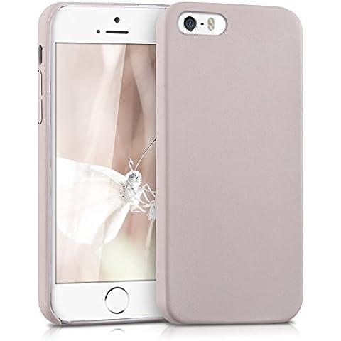 kwmobile Funda blanda con recubrimiento de cuero sintético para el Apple iPhone SE / 5 / 5S en beige