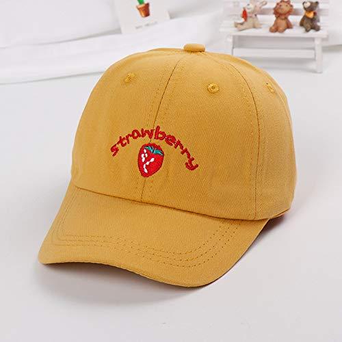mlpnko Obst Schutzhelm Baseballmütze Kinder Hut Neue Kind Visier Baby Hut Sonnencreme Kappe Erdbeere gelb 50-52cm geeignet für 2-7 Jahre alt