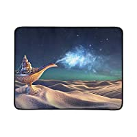 WOCNEMP Lamp Wishes Desert Genie Coming Out Portable And Foldable Blanket Mat 60x78 Inch Handy Mat For Camping Picnic Beach Indoor Outdoor Travel