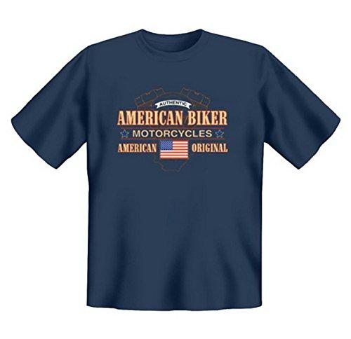 Biker & Motorrad T-Shirt geil bedruckt / American Biker Motorcycles ! Steelblue