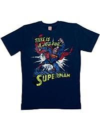 DC Comics - This Is A Job For Superman T-Shirt 100 % coton organique (agriculture biologique) - bleu foncé - LOGOSHIRT