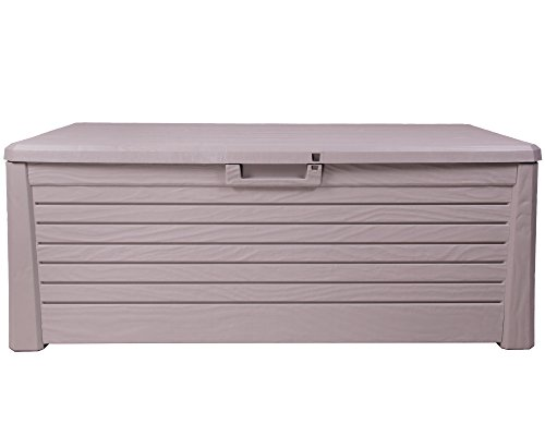 Kissenbox Florida Holz Optik Sitztruhe Auflagenbox grau 550 Liter XXL mit Gasdruckfedern