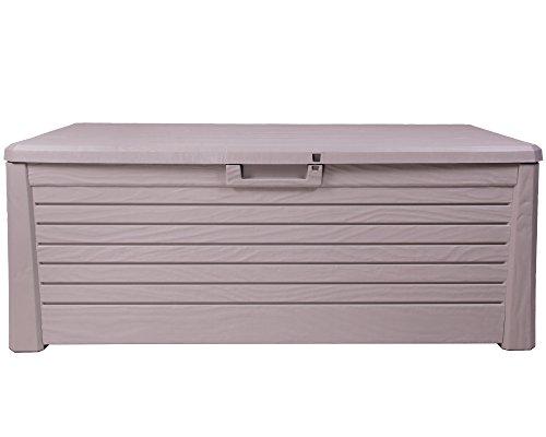 Ondis24 Kissenbox Florida Holz Optik Sitztruhe Auflagenbox grau 550 Liter XXL mit Gasdruckfedern