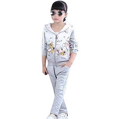 Free Fisher Mädchen 2tlg Bekleidungsset Jacke mit Kapuze + Hose, Grau Blume, Gr.122/128(Herstellgröße: