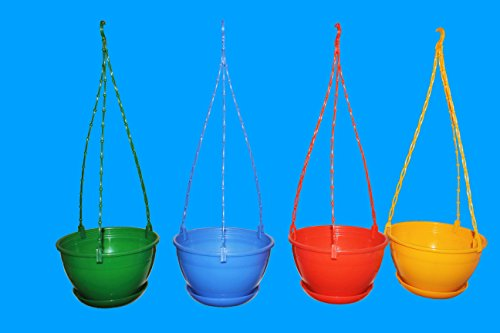 First-Smart-Deal-Plastic-Hanging-Pot-Multi-Pack-of-4Multicolor