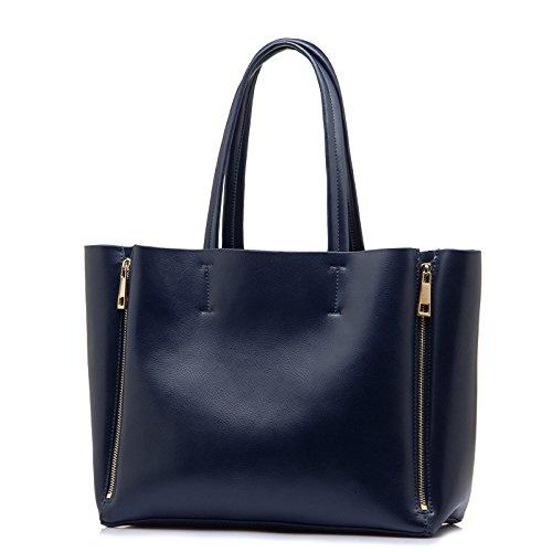 Leder Und Europäische Mode blue Tragbare Frau Handtaschen Meoaeo Amerikanische Einfache nXZTAAq