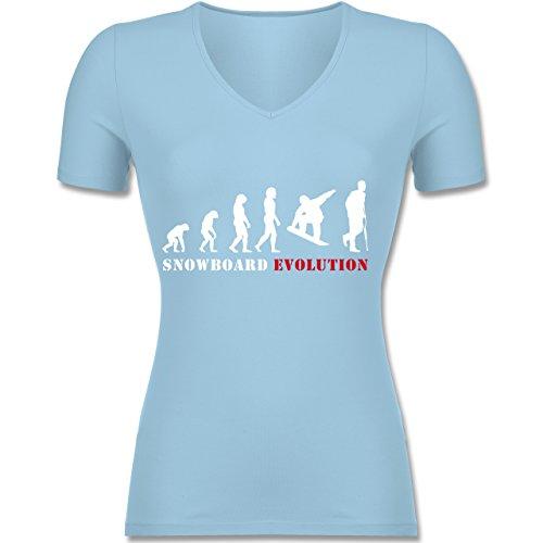 Evolution - Snowboard Evolution - Tailliertes T-Shirt mit V-Ausschnitt für Frauen Hellblau
