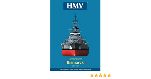 Kartonmodell Schlachtschiff Bismarck mit Tarnbemalung 1:250 HMV Hamburger M...