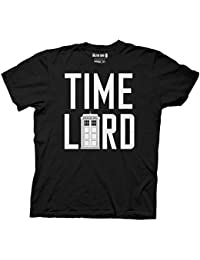 Doctor Who Time Lord With Tardis Mens Black T-Shirt | L