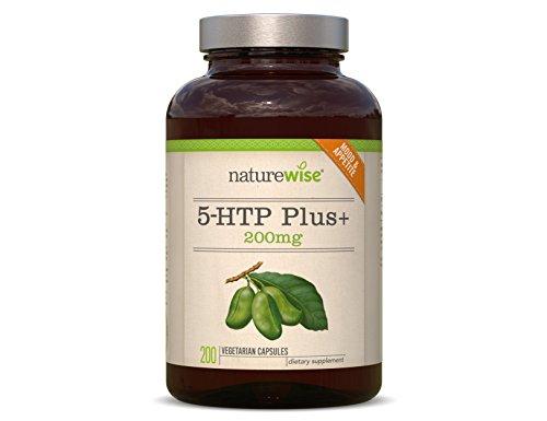 NatureWise 5-HTP Plus+| Serotonin-Unterstützung | Anstieg des Schlafhormons Melatonin| doppelte Stärke | 200 Kapseln | reicht für 6,5 Monate | hilft gegen Jetlag |fördert gesunden Schlaf und gute Stimmung | 100% Geld zurück Garantie