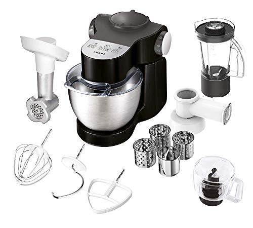 Krups KA3198 Master Perfect Plus Küchenmaschine (1000 Watt, 7 Geschwindigkeiten + Pulse, 4 l Schüssel, Back-Set, Schnitzelwerk, Mixaufsatz, Fleischwolf, Zerkleinerer) schwarz