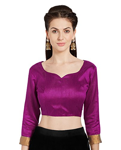 Mirchi Fashion Damen rosa Kunst Seide Readymade Party Saree Bluse stilvolle Choli Top -