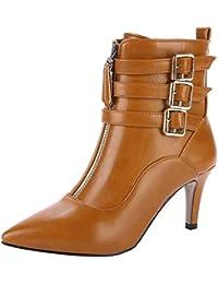 359a7d69af0afd YE Bottes Talons Haut Aiguilles Sexy Femme Bottine Bout Pointu High Heels  Boots Fourrées Hiver Chaude