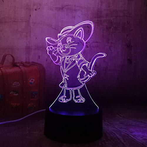 LED Lampada da scrivania Cat Wear Stivali Acrilico 3D Lampada da notte USB Lampada da tavolo Telecomando Home Decro Regalo di Natale per bambini Cat Wear Stivali Controller 7 Colo