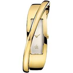 Calvin Klein K2J23501 - Reloj analógico de mujer de cuarzo con correa de acero inoxidable dorada