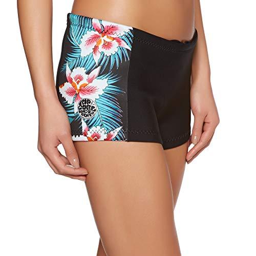 RIP CURL G-Bomb Womens Boyleg 1MM Neoprenanzug Shorts Schwarz Sub - Easy Stretch - 100% E4 Neopren - 1 mm Dicke - E-Stitch - Fleece-stretch-t-shirt