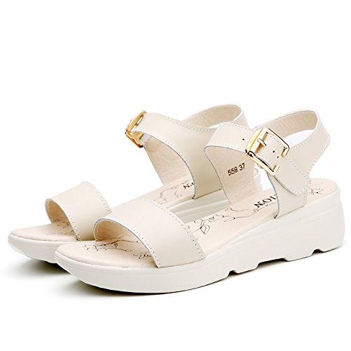 XY&GKKomfort im Sommer Dicke unten mit Sandalen Mädchen Flach mit Flachbild Studenten Leder Sandalen, komfortabel und schön 38 Beige