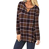 JMETRIC Damen Casual Rundhalsausschnitt Langarm Plaid Button Top 3 Farben