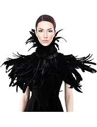 sigando Schwarz Natürliche Feder Cape Gothic Schal Maleficent Rabenkostuem