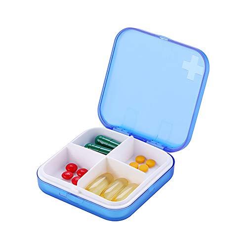 Pillendose Klein,SPEUTO Pill Box Storage 4 Fächer Reise tragbare Pillenbox Tägliche Vitamin Manager Box Pillenbox-Blau -