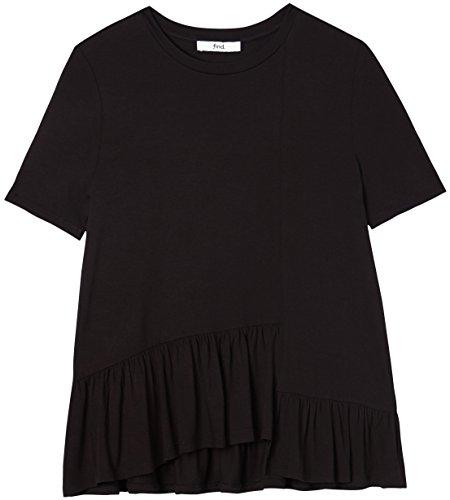 FIND Camiseta con Volantes para Mujer , Negro (Negro), 46 (Talla del Fabricante: XX-Large)