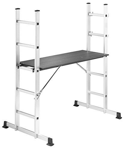 Hailo ProfiStep multi, Alu-Gerüst, Arbeitshöhe: 285 cm, Gerüst und Leiter in einem, Einsatz auf Treppen möglich, belastbar bis 150 kg, 1055-001