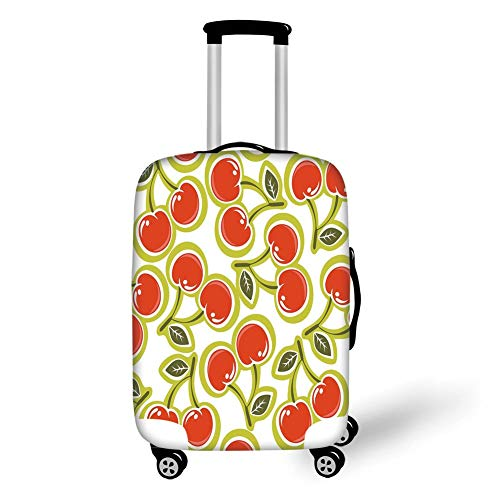 Travel Luggage Cover Suitcase Protector,Fruit,Sweet Yummy Ornate Cherry and Leaves Pattern Fresh Food Fun Art Picture,Apple Green Red White,for Travel -
