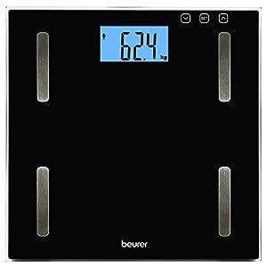 Beurer BF180 – Báscula digital de vidrio, IMC, LCD XL, 180 kg / 100 gr, apagado automatico, indicador de bateria baja, gran plataforma, color negro