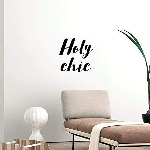 wlwhaoo Zitat Holy Chic Vinyl Wandkunst Aufkleber Moderne Mode Wandsticker Wohnzimmer Schlafzimmer abnehmbare Dekor Wandtattoos grau L 43 cm x 43 cm