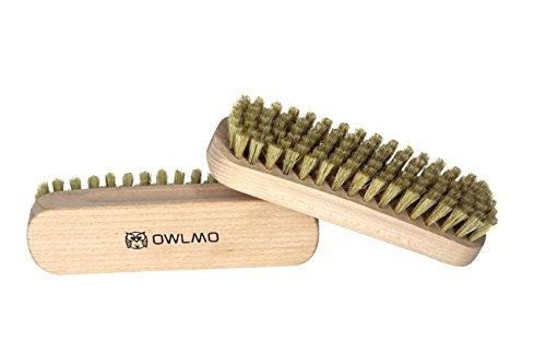 OWLMO® - 2er Set Reinigungsbürste aus Buchenholz 15,5cm | Kleiderbürste | Fusselbürste | Glanzbürste | Schuhbürste | Für Kleidung | Auto | Umweltfreundliche Verpackung