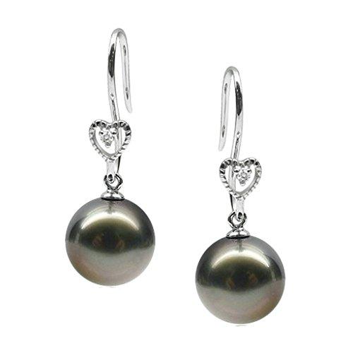 Aooaz Femmes Argent Boucles d'Oreilles Noir Pearl Gentil Coeur Lien Boucles d'Oreilles Pendantes Argent02