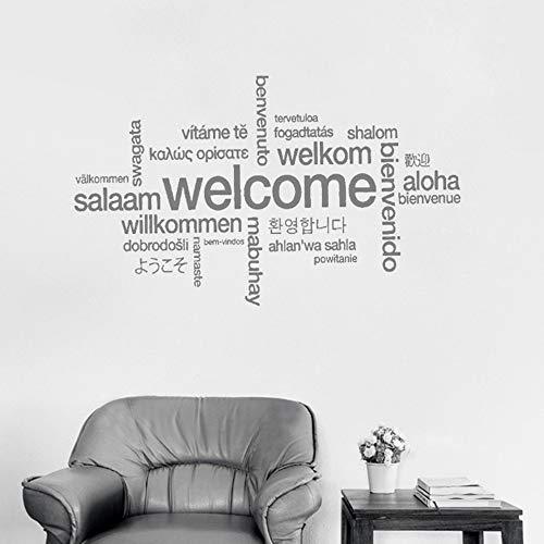 Preisvergleich Produktbild YSFU Wandsticker Willkommensschild Viele Sprachen Wandaufkleber Aufkleber Kunst Vinyl Wandbild Büro Shop Wand Dekor Willkommen DIY Tapete Abnehmbar