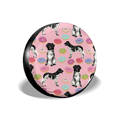 Stabyhoun Donuts Dogs and Food Design stabij Pink Polyester Universal Spare Wheel Tire Cover Wheel Covers Jeep Trailer RV SUV Truck Camper Travel Trailer Accessories(14,15,16,17 Inch)14inch