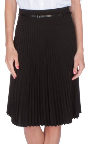 sakkas-fv3543-knee-length-pleated-a-line-skirt-with-skinny-belt-black-x-large