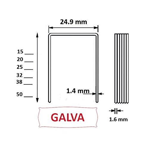 Agrafes 16WC / S2 - 15mm Galva - Boite de 10000