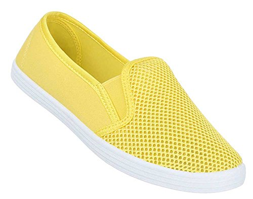 Damen Schuhe Slipper Halbschuhe Moderne Sommerschuhe Freizeitschuhe Gelb