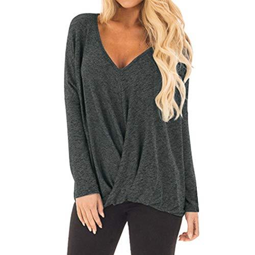 Basic-66-block-punch (TEFIIR T-Shirt für Frauen, Damenmode Style Pure V-Ausschnitt Langarm Preisnachlass für Oktoberfest, Leistungsverhältnis Unregelmäßige Bluse Top Geeignet für Freizeit und Dating)