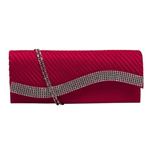 Dairyshop Sacchetto di modo della borsa della frizione di cerimonia nuziale del partito di sera delle borse del raso del Rhinestone delle donne (Nero) Rosso