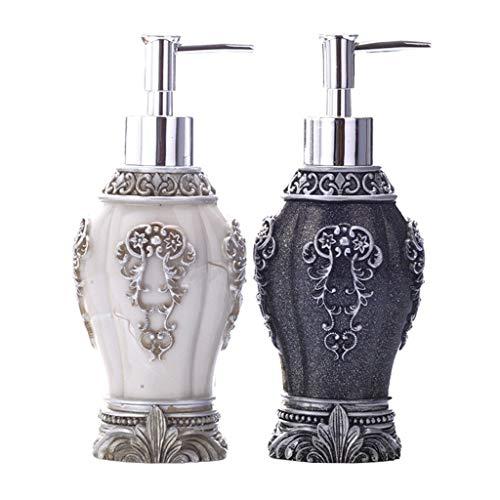 Seifenspender Elegantes Badezimmer Dekorieren hochwertigen Harz Flüssigseifenspender Lotion Flasche for Küche Bad Eitelkeit oder Arbeitsplatte (weiß/schwarz) Lotionspender (Color : Black+White) -