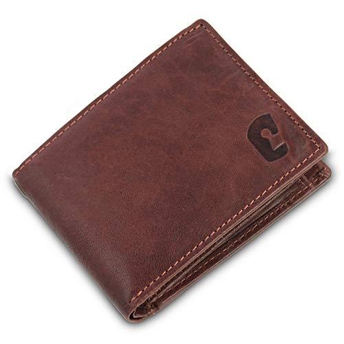 Safekeepers - Portemonnaie Männer in Querformat Kompakt - Portmonee - RFID Geldbörse - Leder Geldbeutel - Geldtasche in Schwarz mit zuverlässiger RFID / NFC Schutztechnologie