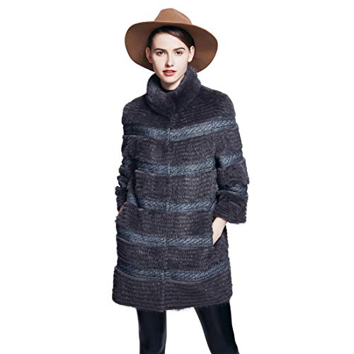 URSFUR Chaqueta larga de invierno de visón real para mujer Abrigo largo cálido invierno 40