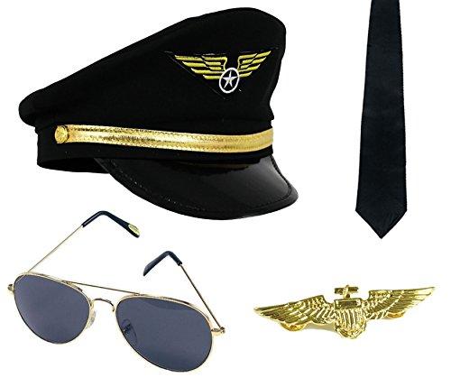 ILOVEFANCYDRESS 4 TEILIGES FLUGPILOTEN Set - GOLDENE ANSTECK BROSCHE, Piloten MÜTZE, Schwarze Krawatte,Piloten - Flug Anzug Kostüm Männer