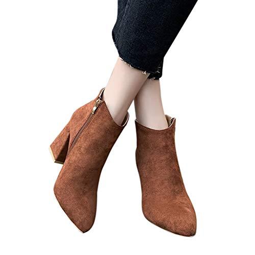 Fenverk Damen Stiefeletten Ankle Boots Mit Blockabsatz Cowboy Western Wedge Schnalle High-Heels ReißVerschluss Stiefel Schuhe Herbst RöMische Trichterabsatz Outdoor Frauen(Braun,39 EU) -