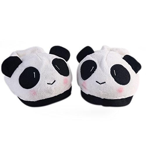 RENZE Panda Weichen Plüsch Hausschuhe, Cartoon Schöne Warme Rutschfeste Indoor Frauen Hause Schuhe, Weiß (Boxer Stricken)