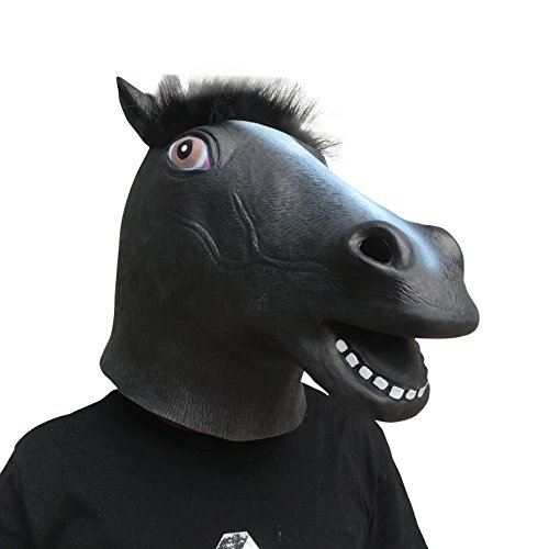 de black horse Maske mit Haaren mask aus sehr hochwertigen Latex Material mit Öffnungen an Augen Halloween Karneval Fasching Kostüm Verkleidung für Erwachsene Männer und Frauen Damen Herren gruselig Grusel Zombie Monster Dämon Horror Party (Zombie-maske Pferd)